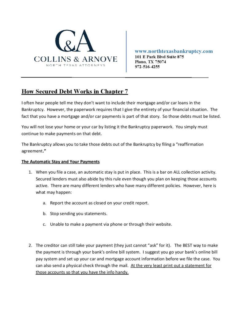 Secured Debt in Ch. 7 Free PDF download
